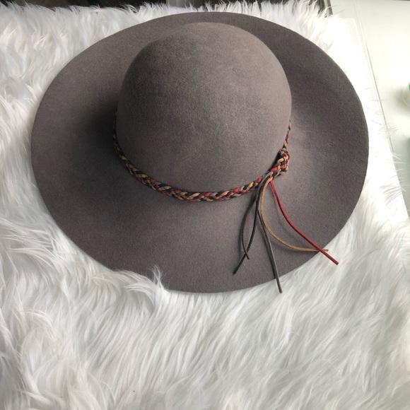 5945c0b87b2 C C Grey wool floppy hat with colored trim boho
